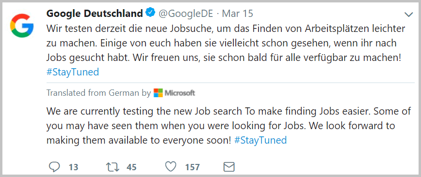 Germans will have an easier time finding jobs using Google for Jobs