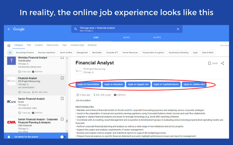 What a job seeker sees on Google for Jobs