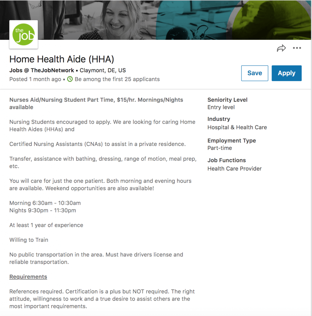 Job description example for healthcare job - home health aide