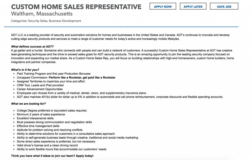 sales job advertisement example to help your write a job posting to attract top talent
