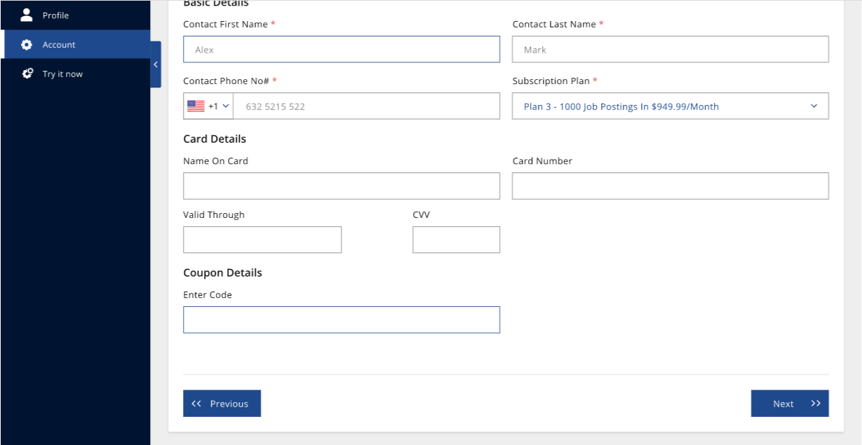 Jobiak account settings in customer dashboard