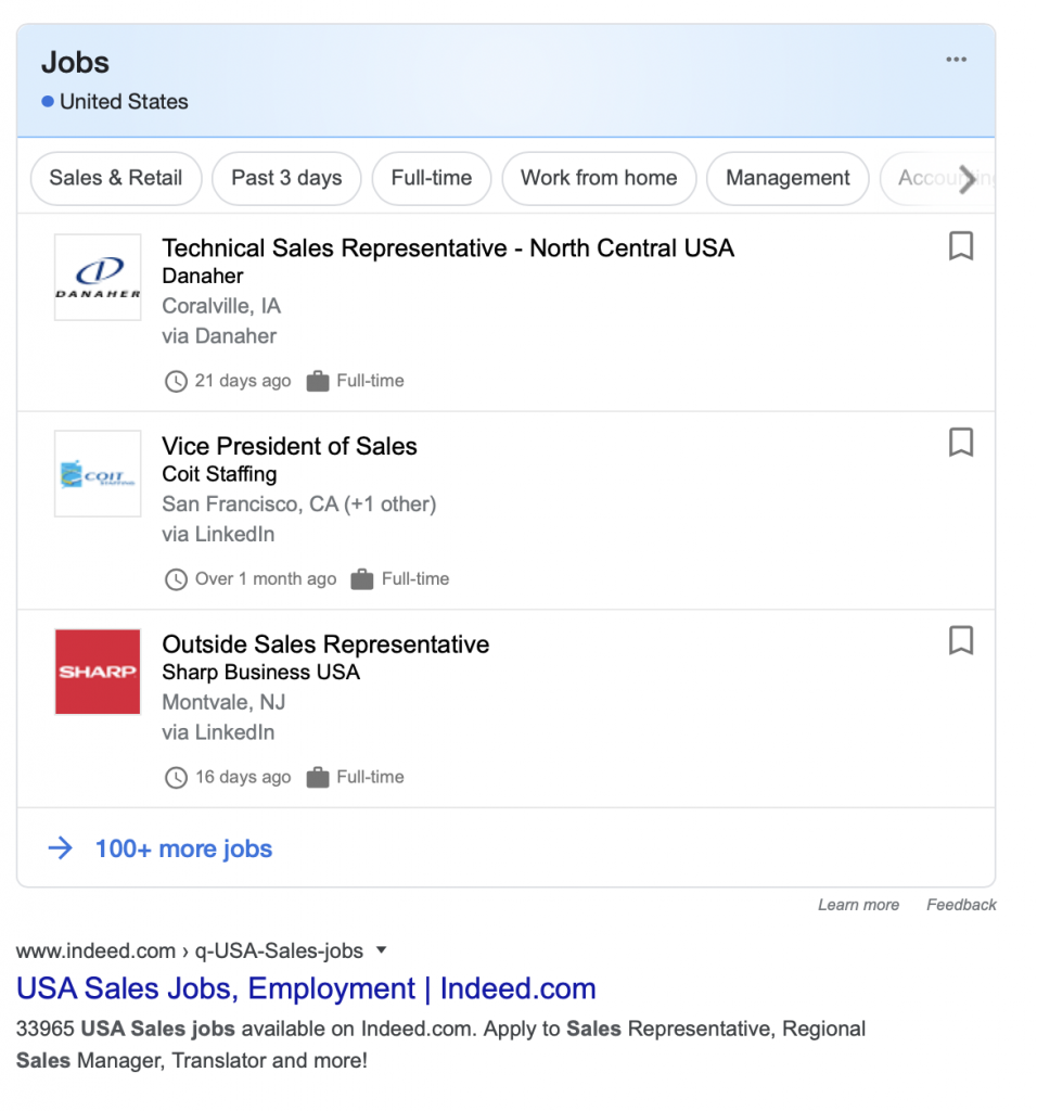 Indeed organic search results below Google for Jobs